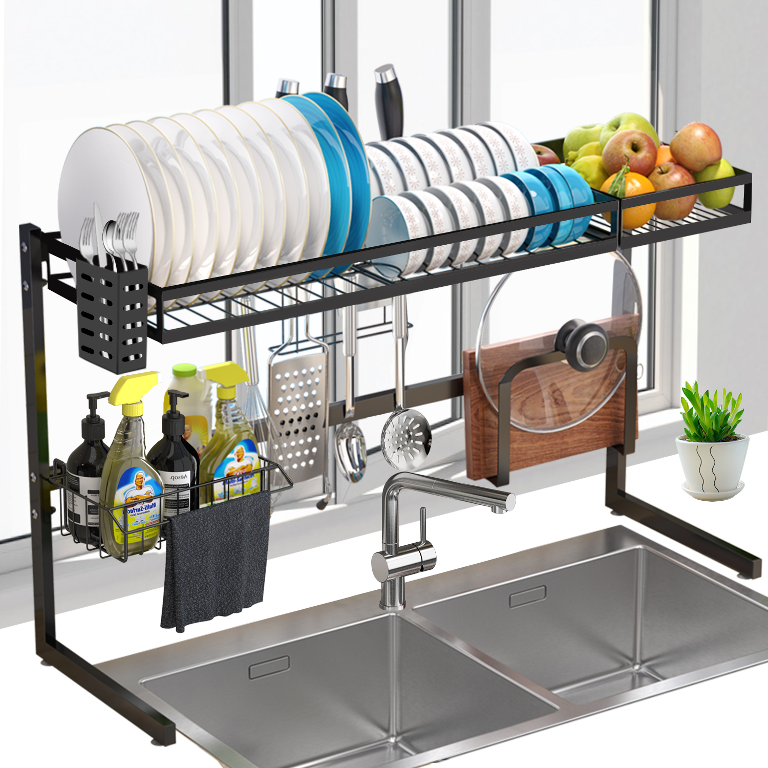 Over Sink Dish Rack G Ting 2tier Dish Drying Rack 34 Large Dish Drainer Shelf With Utensil Holder Over The Sink Kitchen Stainless Steel Storage Rack Space Saver Display Stand G Ting